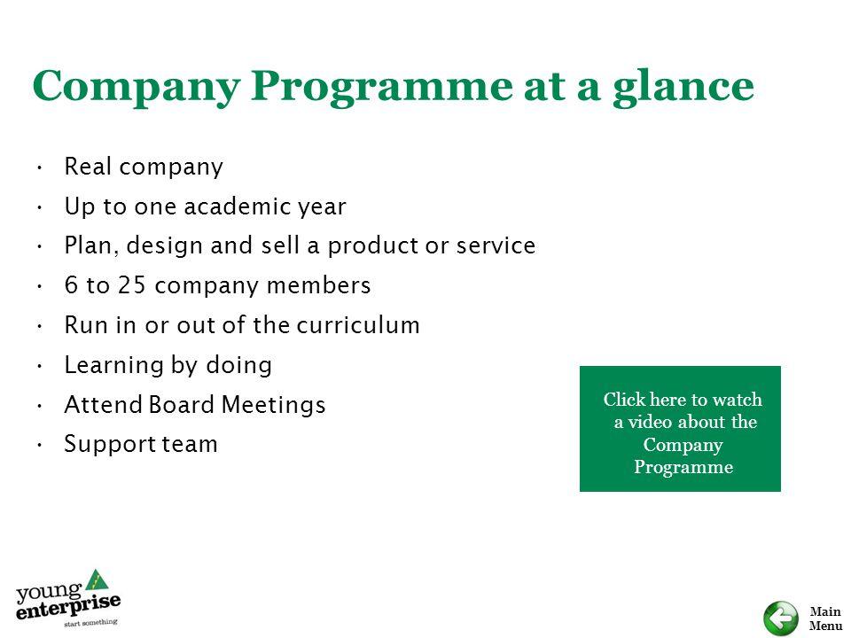 Company Programme at a glance