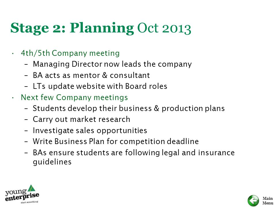 Stage 2: Planning Oct th/5th Company meeting