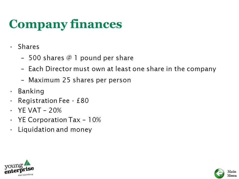 Company finances Shares 500 shares @ 1 pound per share