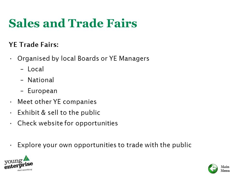Sales and Trade Fairs YE Trade Fairs: