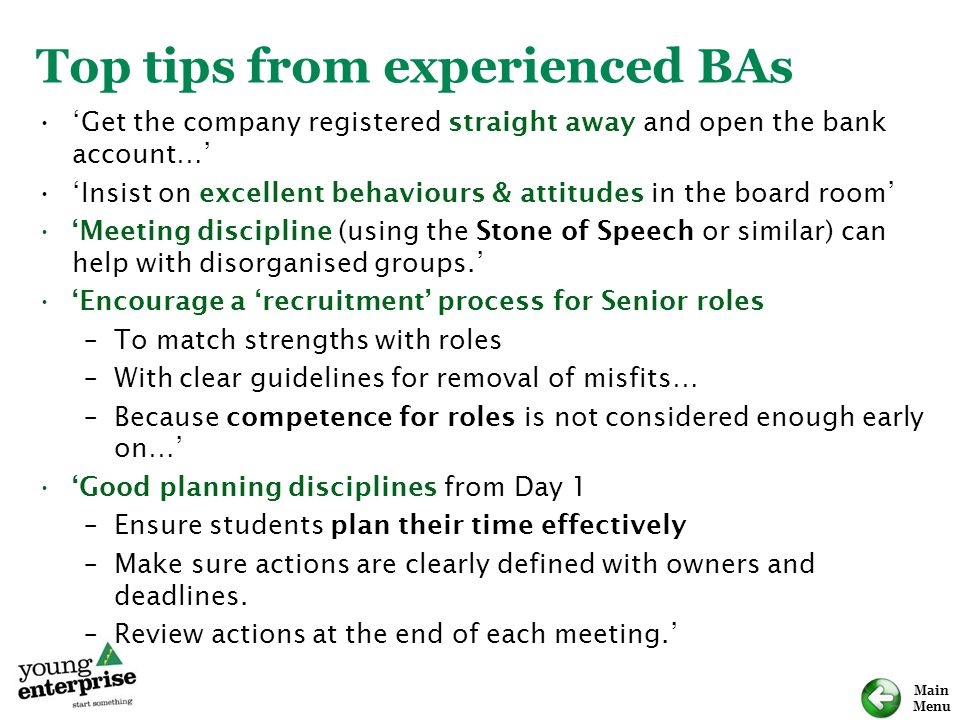 Top tips from experienced BAs