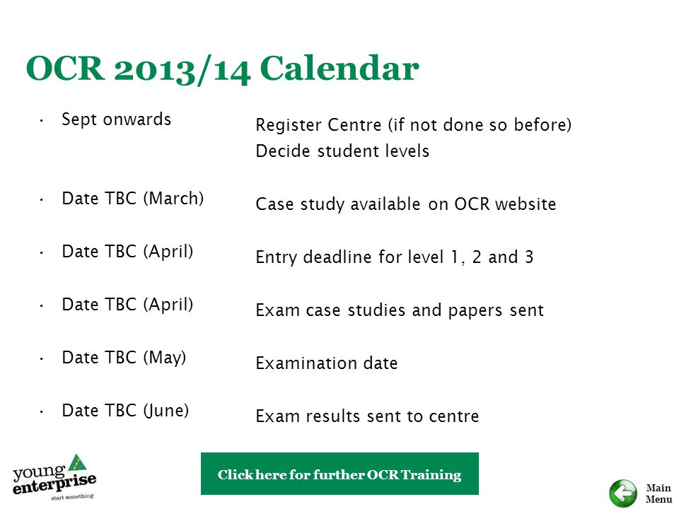 OCR 2013/14 Calendar Sept onwards