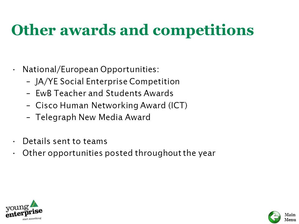 Other awards and competitions