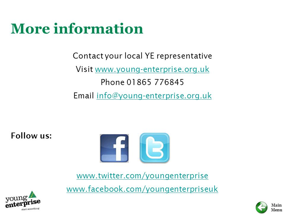 More information Contact your local YE representative