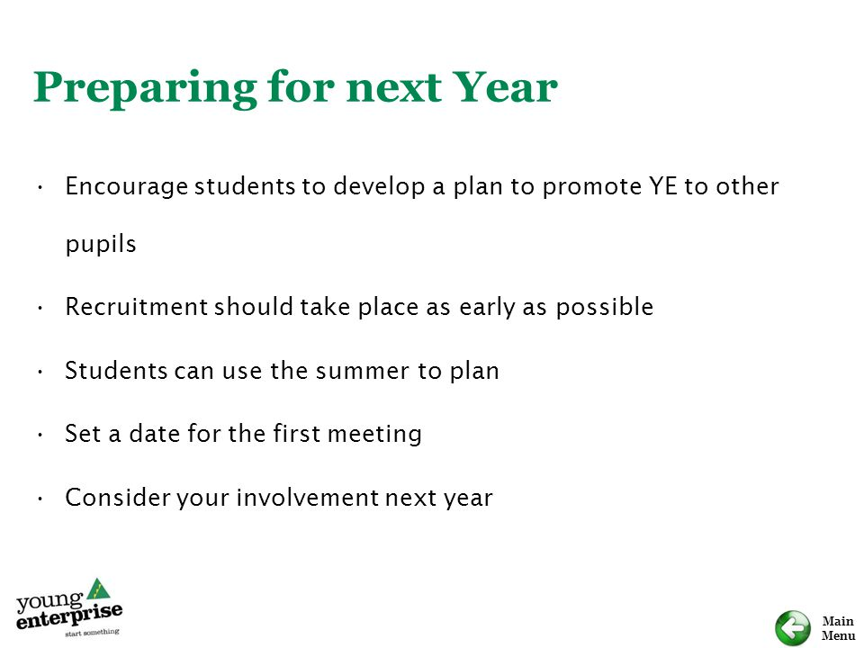 Preparing for next Year
