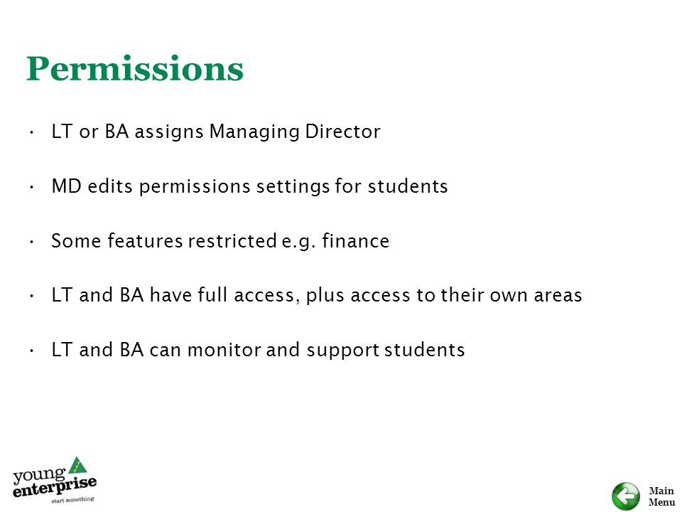 Permissions LT or BA assigns Managing Director