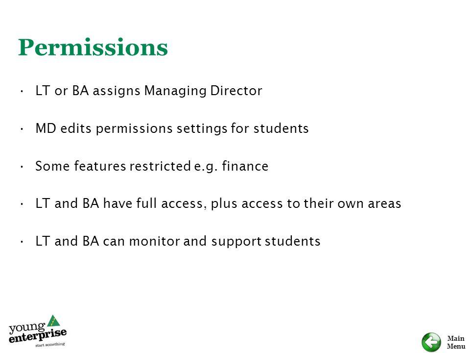 Permissions LT or BA assigns Managing Director