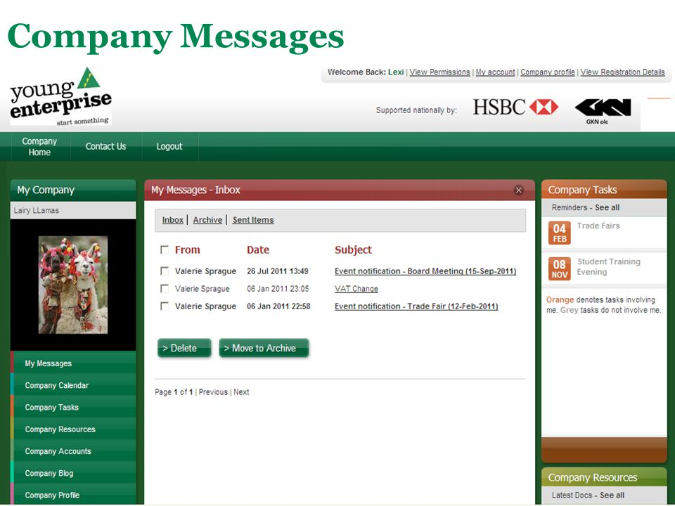 Company Messages Available to everyone: