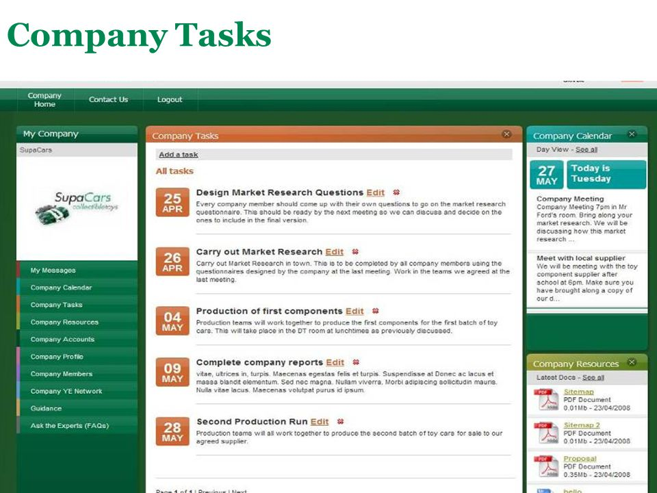 Company Tasks This is a shared list of tasks that the company has to complete. Each task has a deadline attached to it.