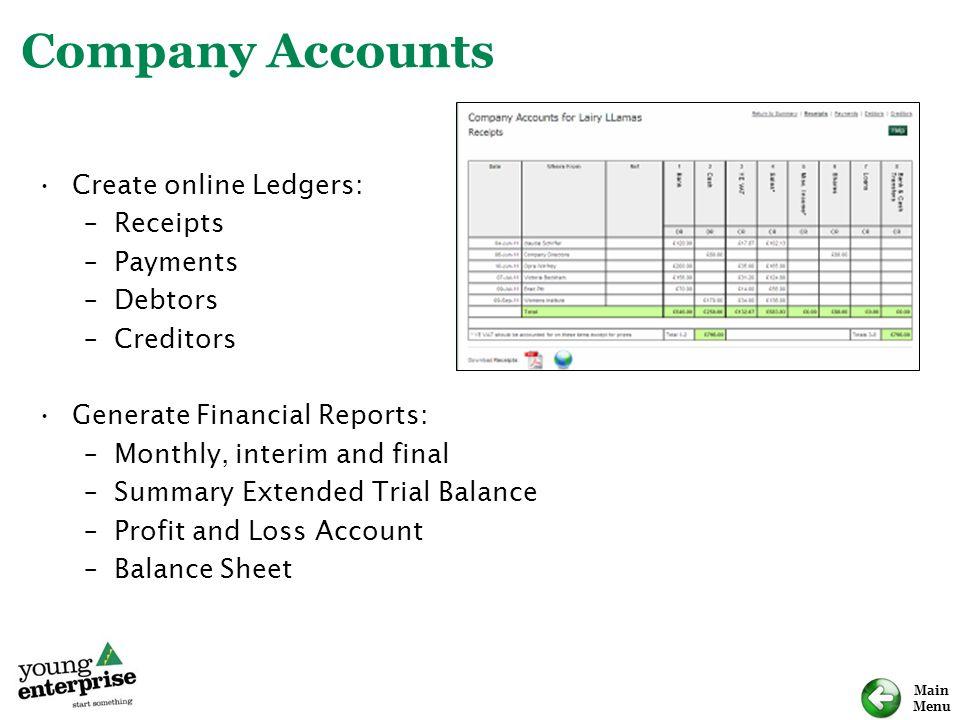 Company Accounts Create online Ledgers: Receipts Payments Debtors