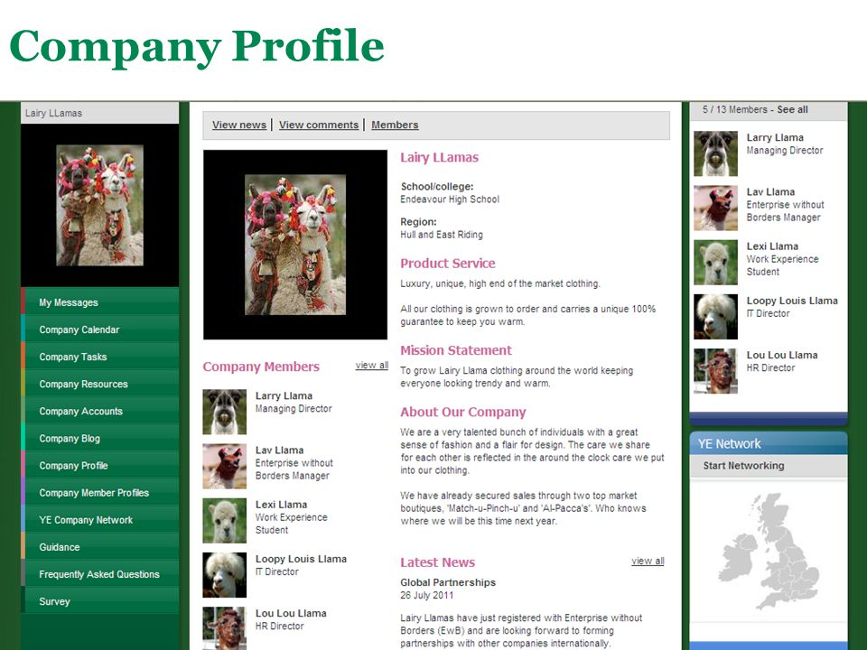 Company Profile This page is for students to create a profile about their company.