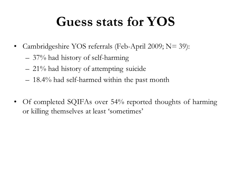 Guess stats for YOS Cambridgeshire YOS referrals (Feb-April 2009; N= 39): 37% had history of self-harming.