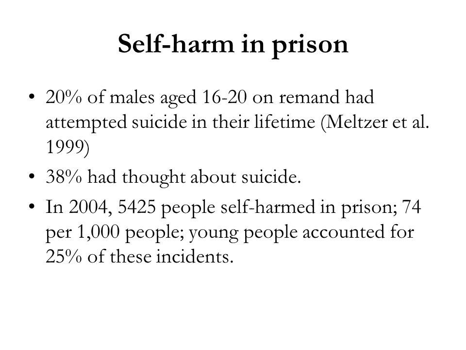 Self-harm in prison 20% of males aged on remand had attempted suicide in their lifetime (Meltzer et al. 1999)