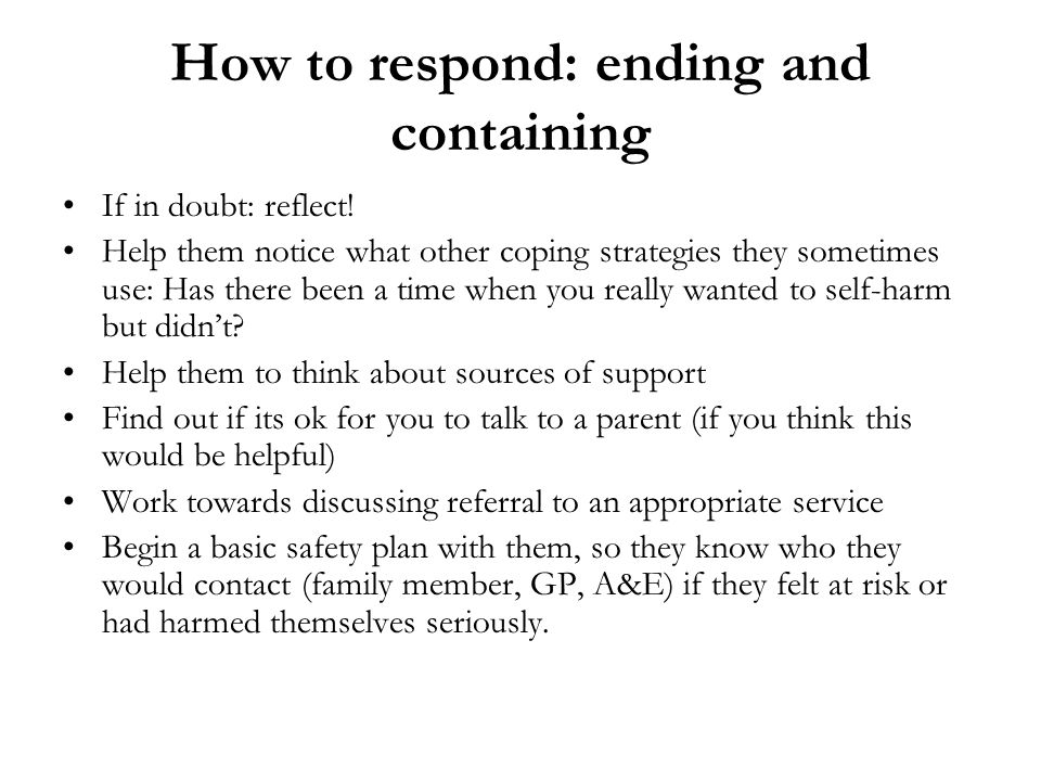 How to respond: ending and containing