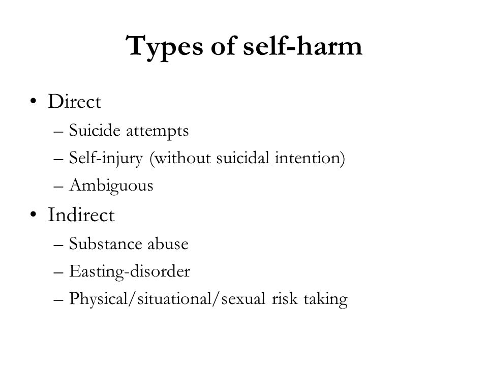 Types of self-harm Direct Indirect Suicide attempts