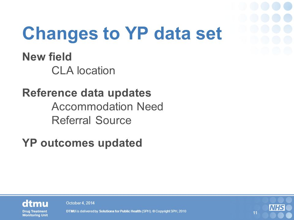 Changes to YP data set New field. CLA location Reference data updates