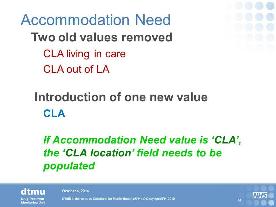 Accommodation Need Two old values removed