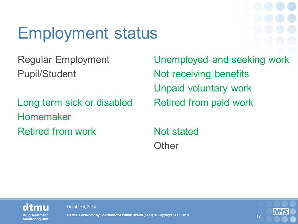 Employment status Regular Employment Pupil/Student Long term sick or disabled Homemaker Retired from work
