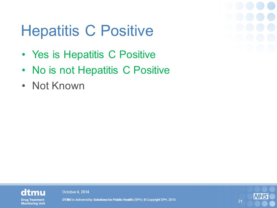 Hepatitis C Positive Yes is Hepatitis C Positive