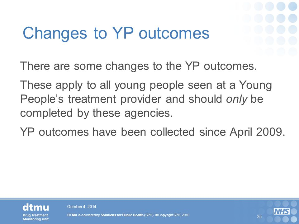 Changes to YP outcomes