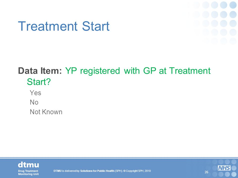 Treatment Start Data Item: YP registered with GP at Treatment Start