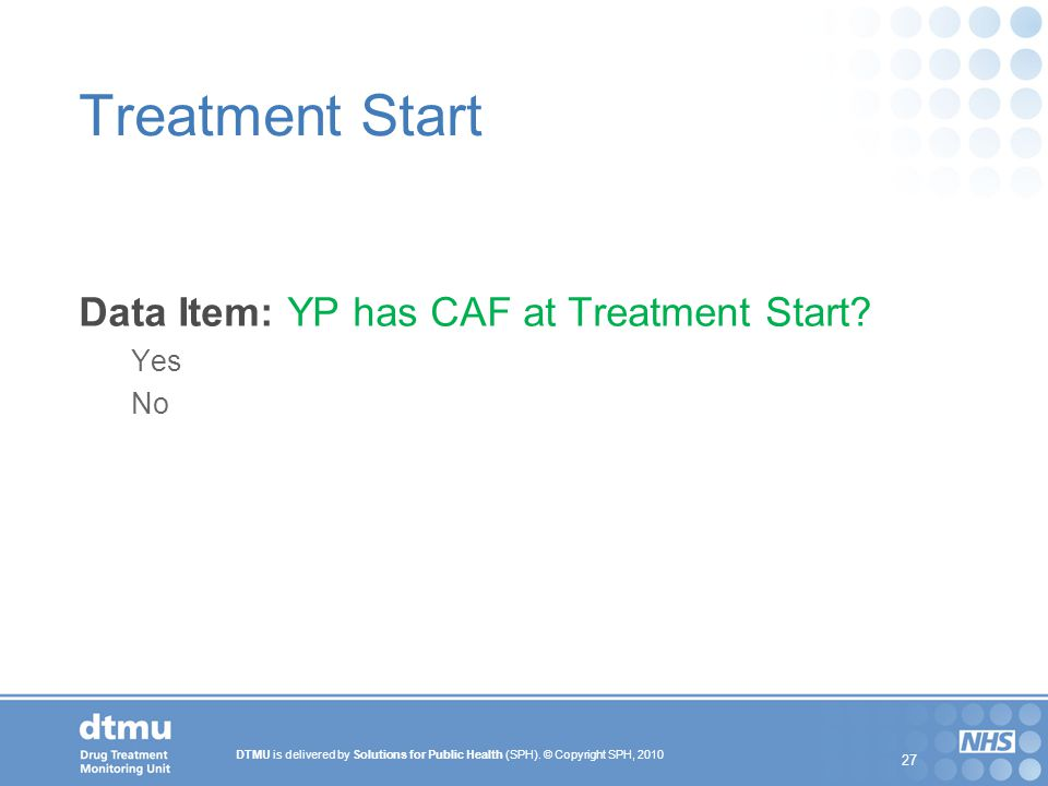 Treatment Start Data Item: YP has CAF at Treatment Start Yes No 27