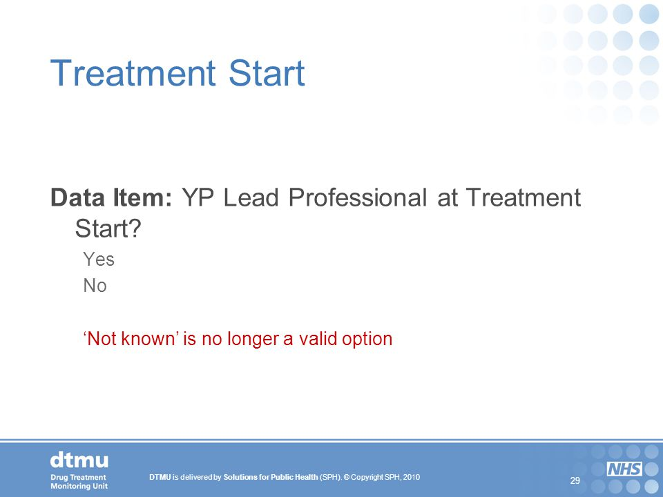Treatment Start Data Item: YP Lead Professional at Treatment Start