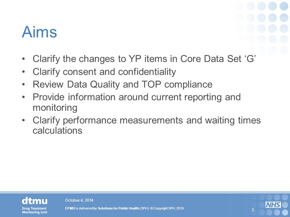 Aims Clarify the changes to YP items in Core Data Set 'G'
