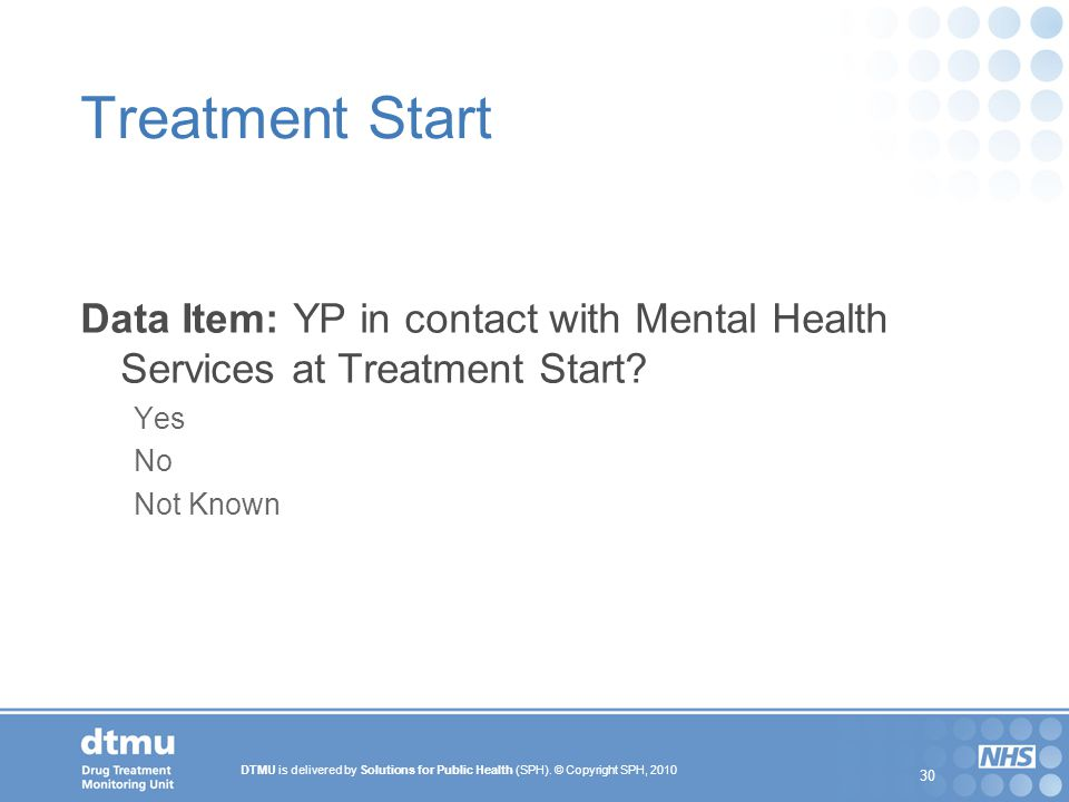Treatment Start Data Item: YP in contact with Mental Health Services at Treatment Start Yes. No.