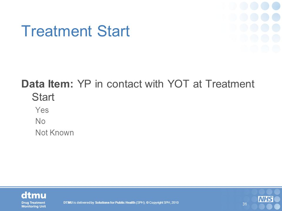 Treatment Start Data Item: YP in contact with YOT at Treatment Start