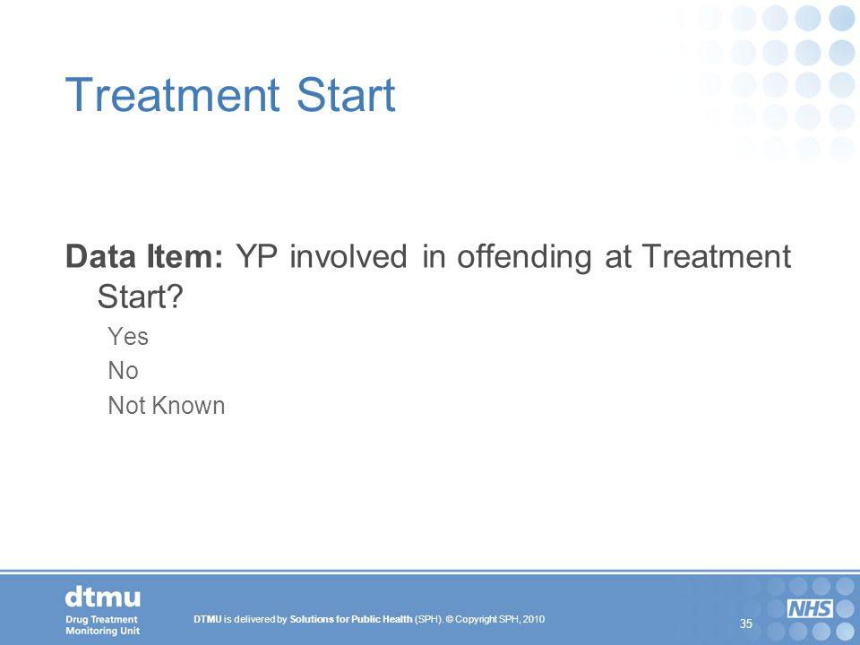 Treatment Start Data Item: YP involved in offending at Treatment Start Yes No Not Known