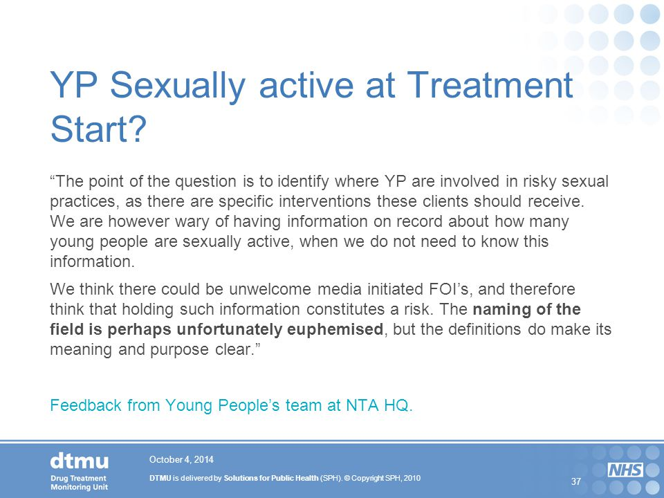 YP Sexually active at Treatment Start