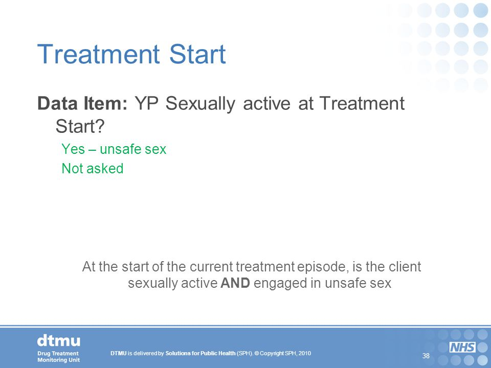 Treatment Start Data Item: YP Sexually active at Treatment Start