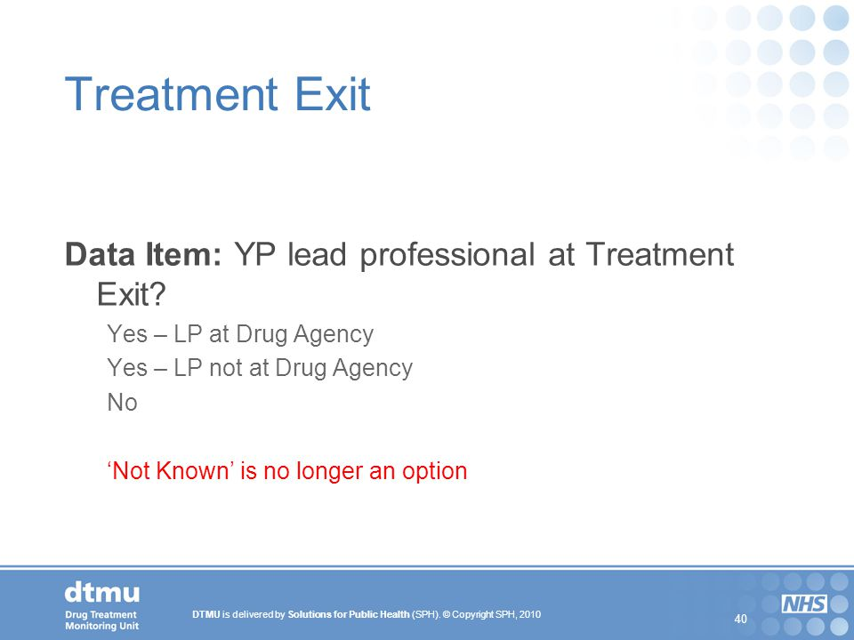 Treatment Exit Data Item: YP lead professional at Treatment Exit