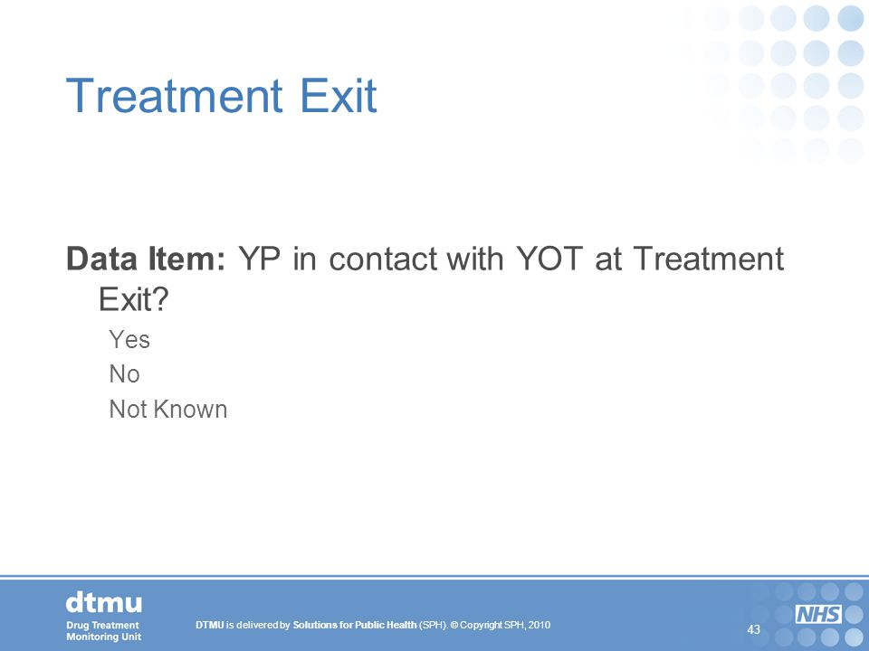 Treatment Exit Data Item: YP in contact with YOT at Treatment Exit