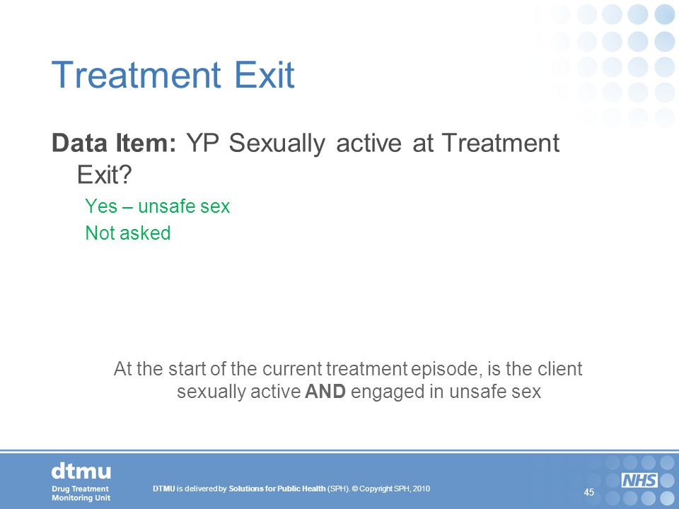 Treatment Exit Data Item: YP Sexually active at Treatment Exit