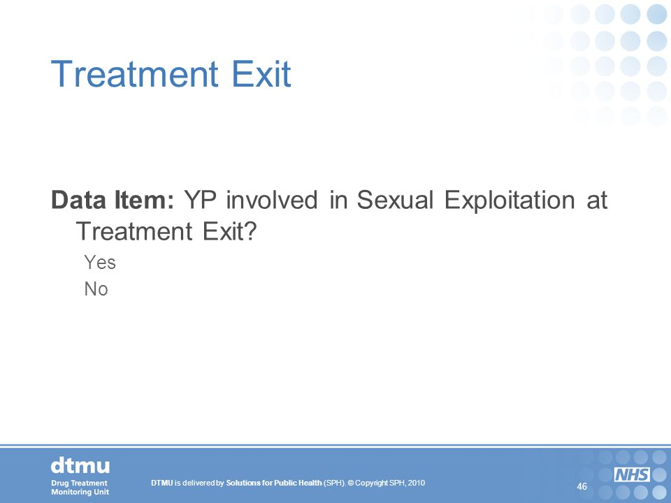 Treatment Exit Data Item: YP involved in Sexual Exploitation at Treatment Exit Yes No