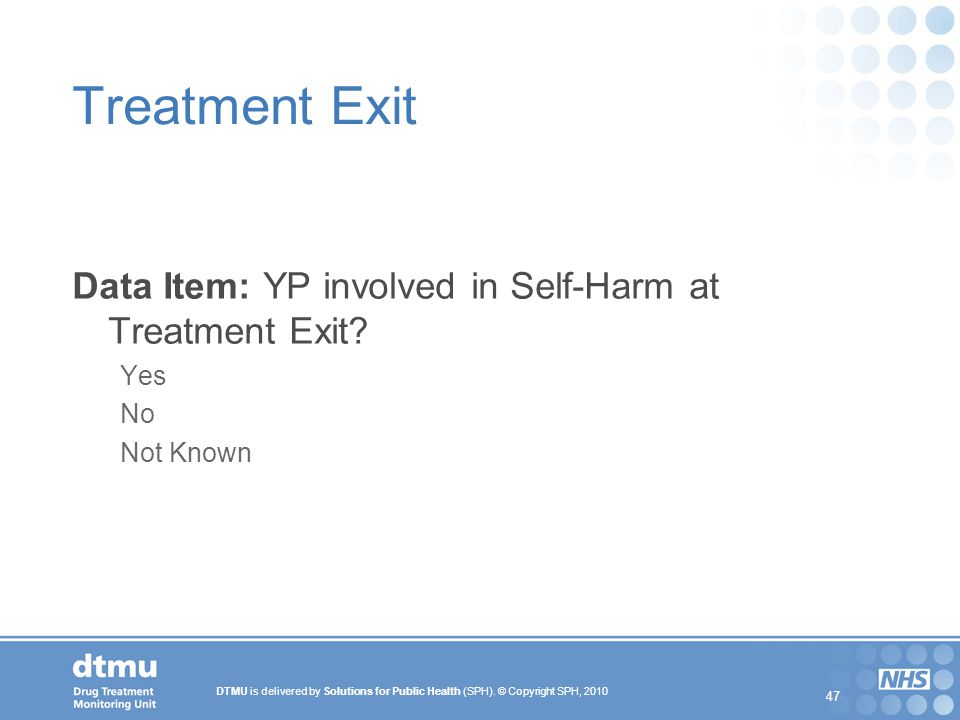 Treatment Exit Data Item: YP involved in Self-Harm at Treatment Exit
