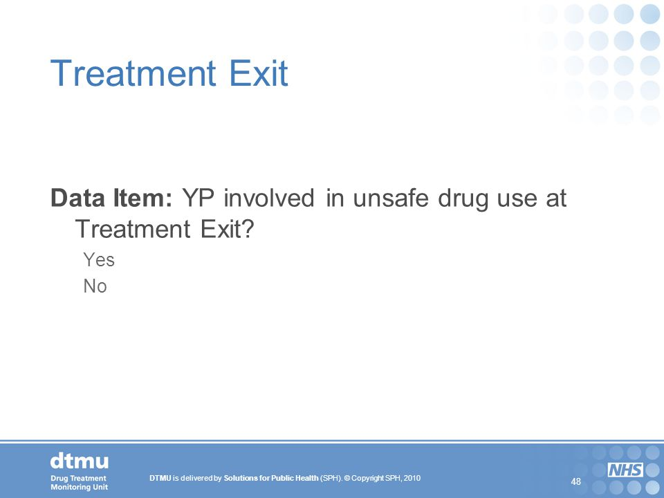 Treatment Exit Data Item: YP involved in unsafe drug use at Treatment Exit Yes No 48