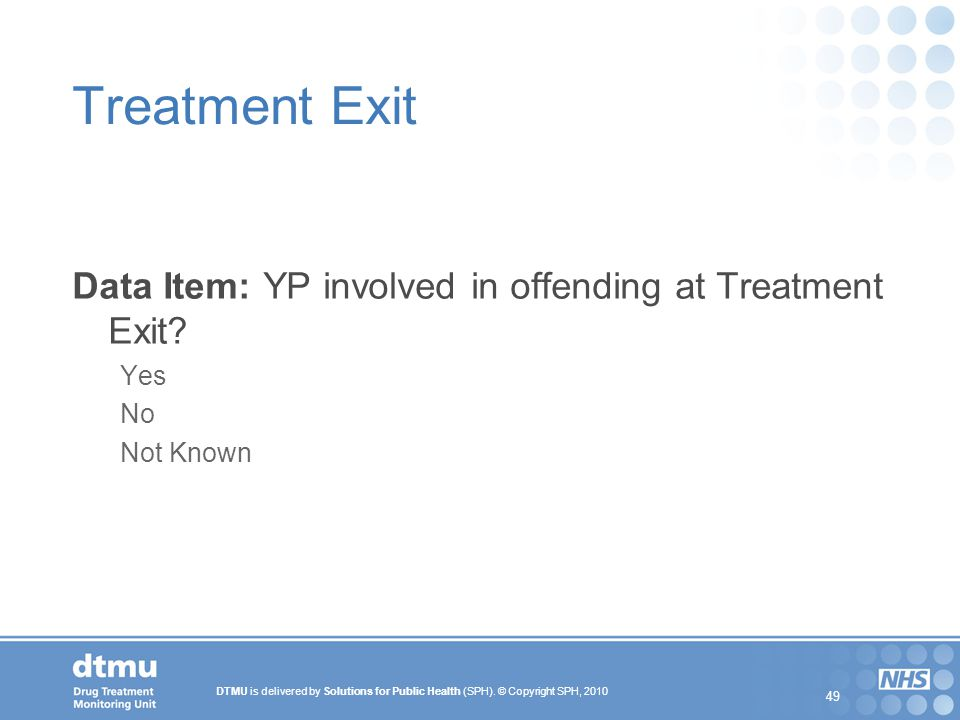 Treatment Exit Data Item: YP involved in offending at Treatment Exit