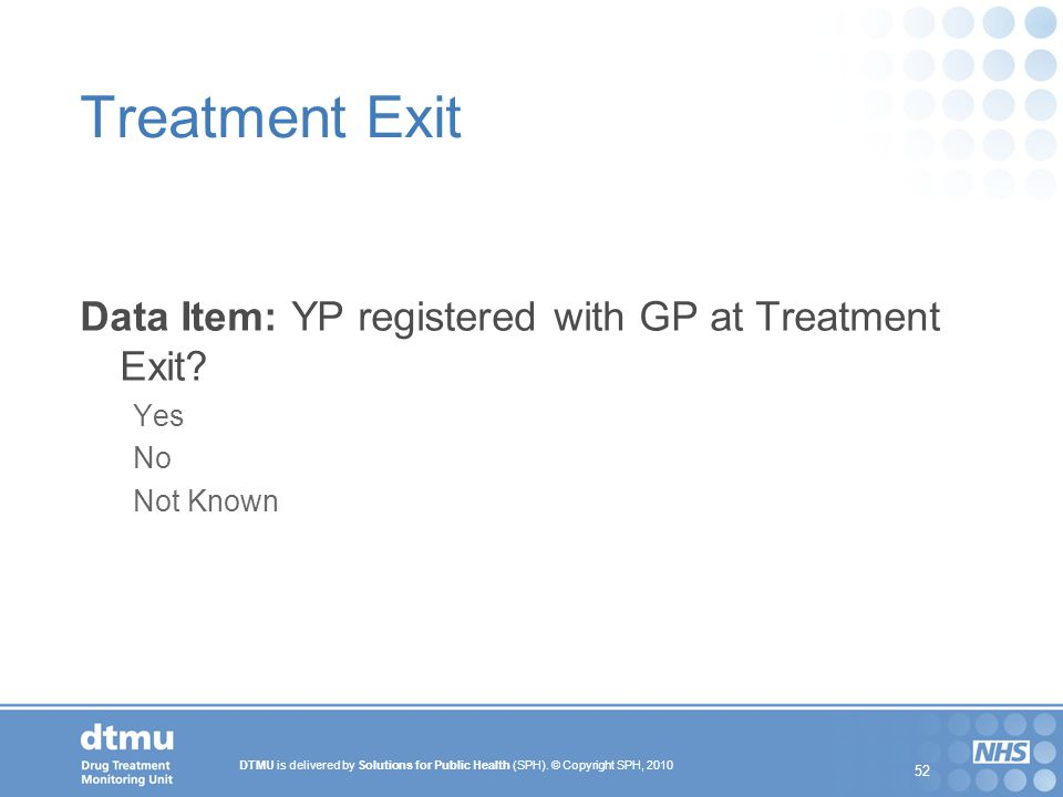 Treatment Exit Data Item: YP registered with GP at Treatment Exit Yes