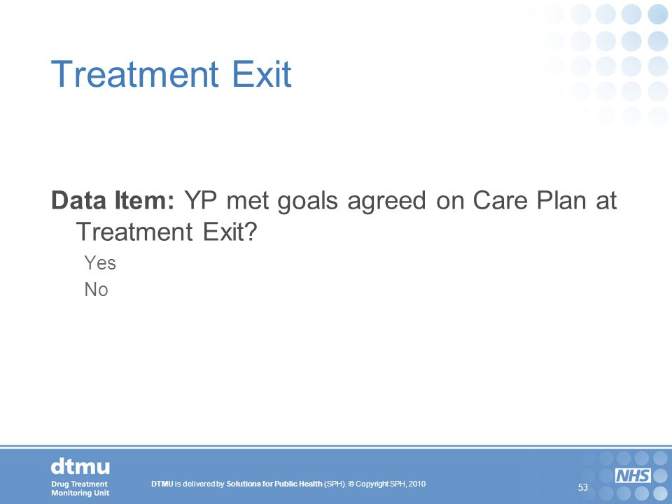 Treatment Exit Data Item: YP met goals agreed on Care Plan at Treatment Exit Yes No 53