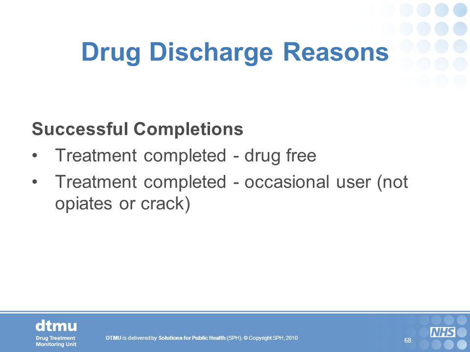 Drug Discharge Reasons