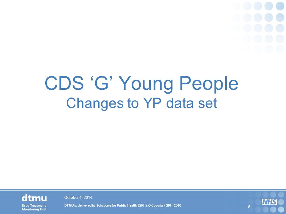 CDS 'G' Young People Changes to YP data set