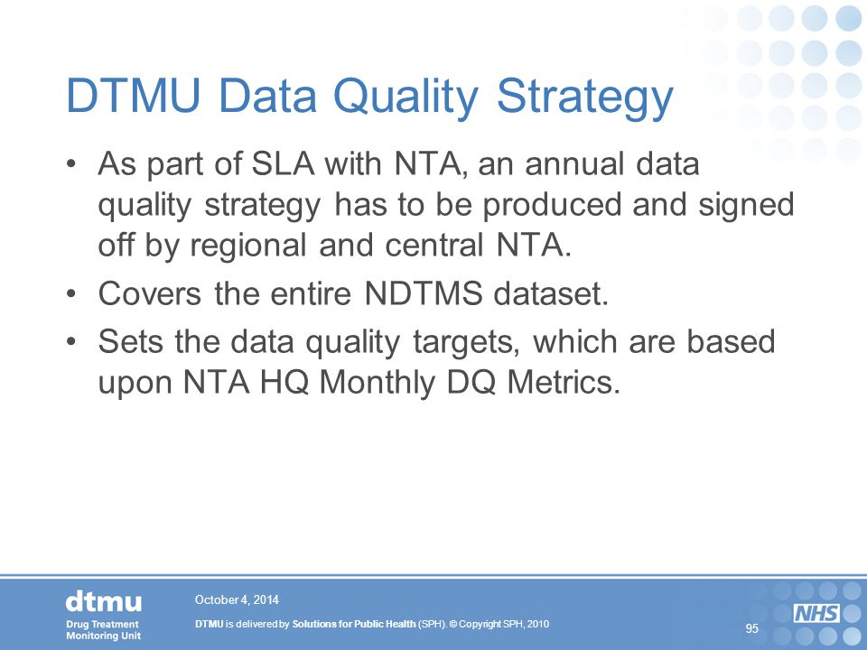 DTMU Data Quality Strategy
