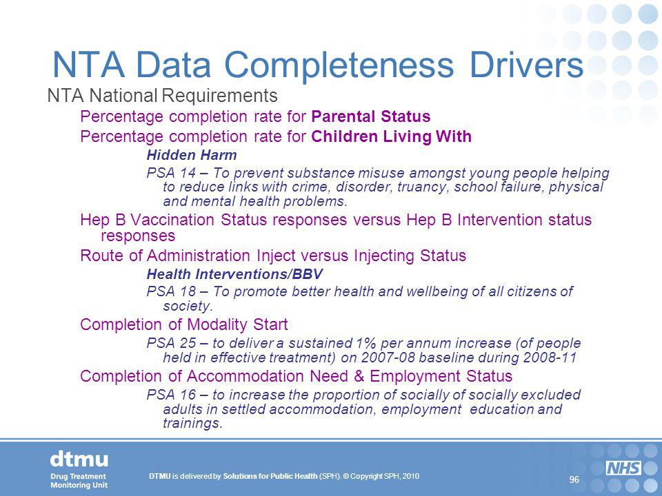 NTA Data Completeness Drivers