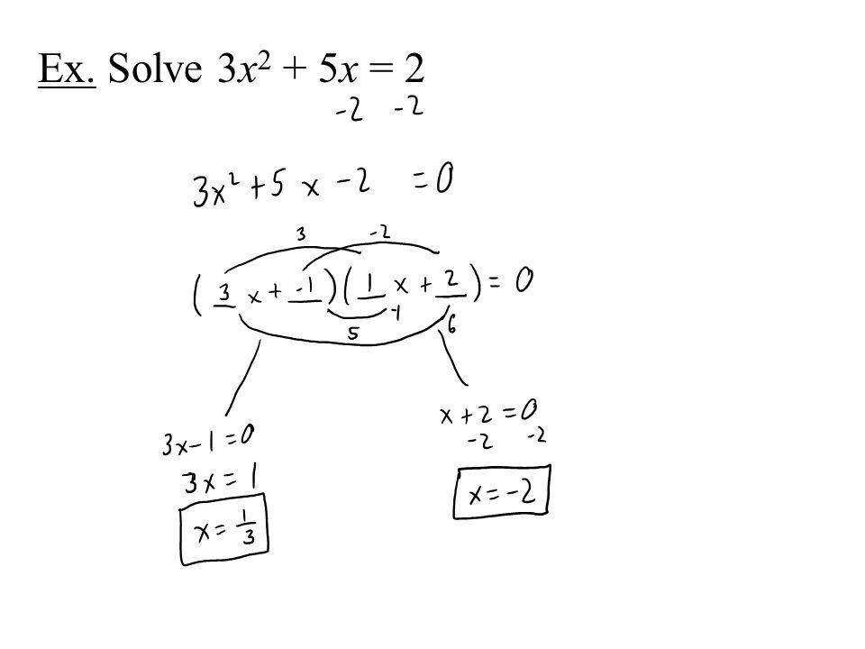 Ex. Solve 3x2 + 5x = 2