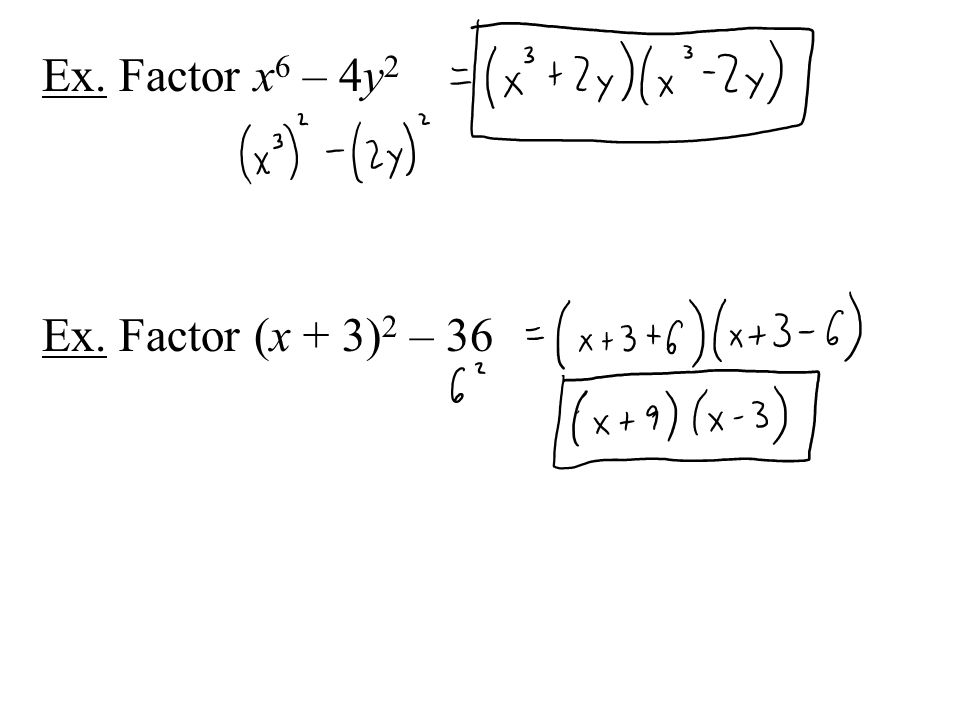Ex. Factor x6 – 4y2 Ex. Factor (x + 3)2 – 36