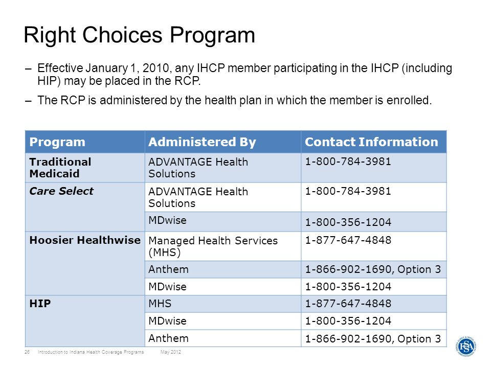 Right Choices ProgramEffective January 1, 2010, any IHCP member participating in the IHCP (including HIP) may be placed in the RCP.