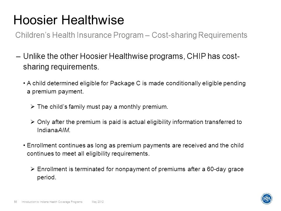 Hoosier Healthwise Children's Health Insurance Program – Cost-sharing Requirements.